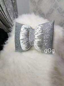 Bow Cushion Glitter Silver Crushed velvet