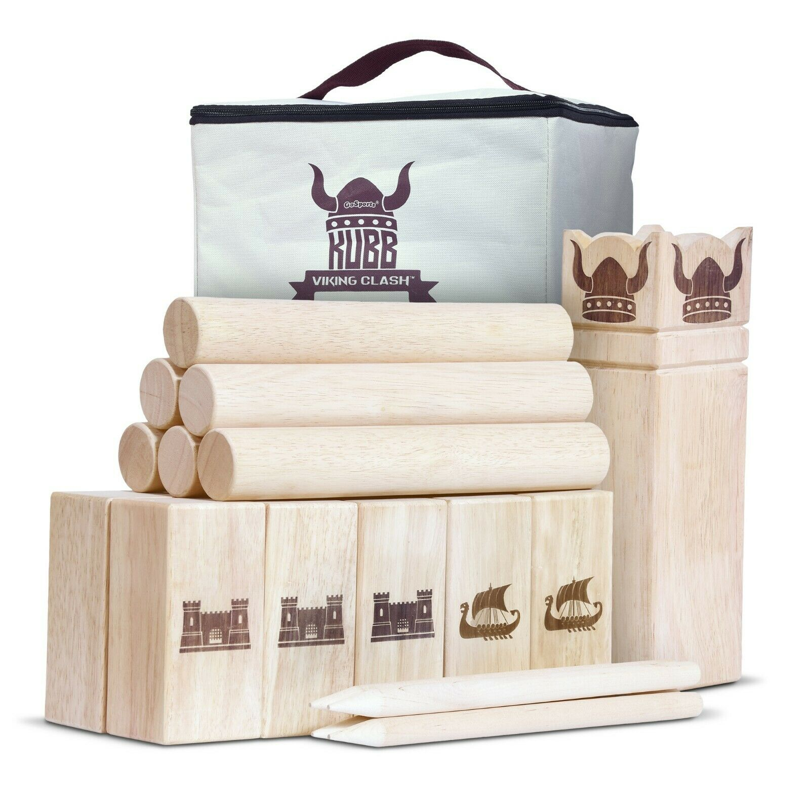 GoSports Regulation Size Kubb   Viking Clash Toss Game Set   Bonus Carry Case