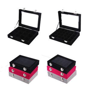 Velvet Glass Jewelry Ring Display Organizer Box Tray Holder Earring
