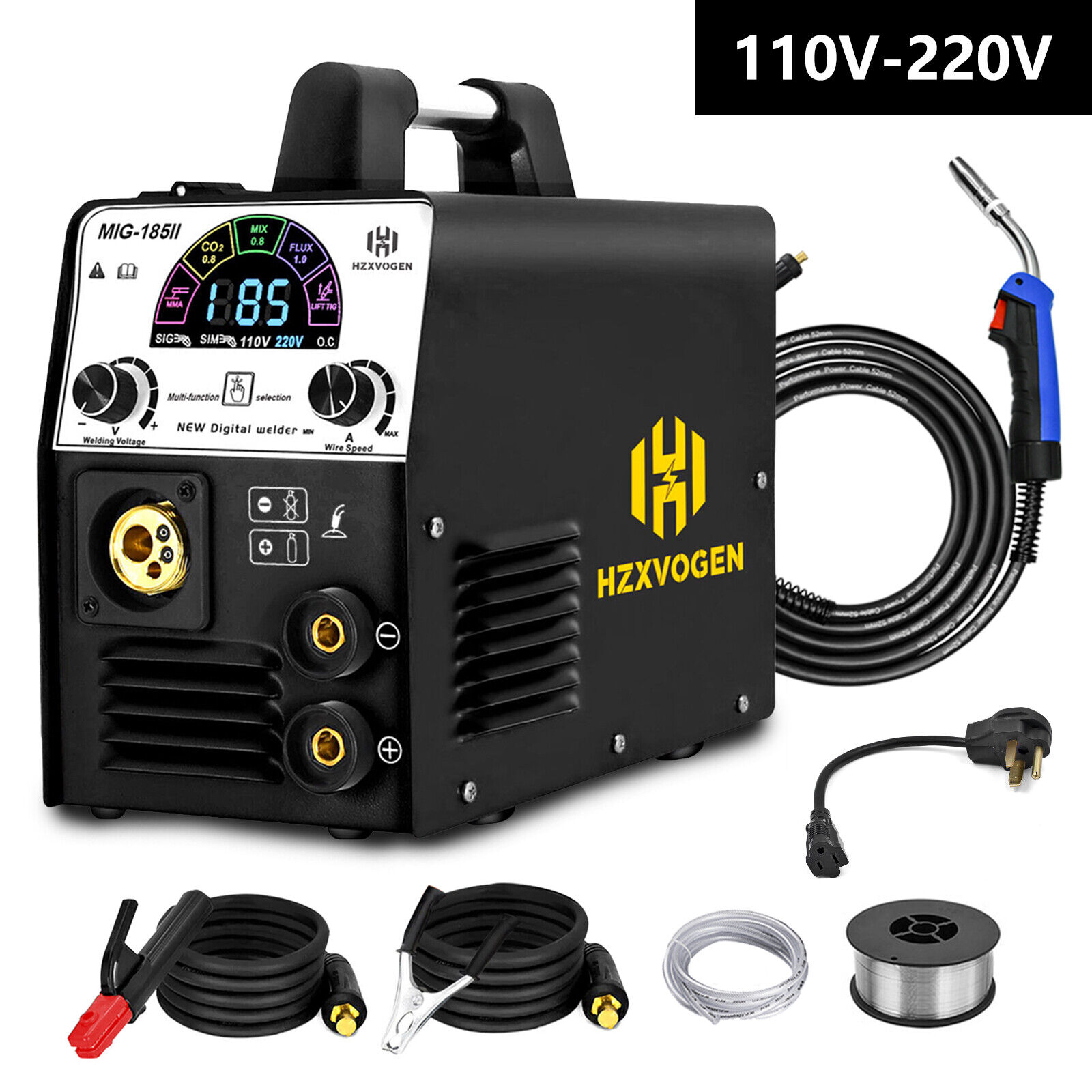 LED 110V 220V 180A MIG Welder Gas/Gasless MIG ARC Stick Lift TIG Welding Machine. Available Now for 237.49