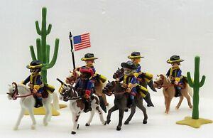 Soldats de cavalerie de l'armée de l'Union Scout Trompettiste Porteur du drapeau Playmobil Mega Rar
