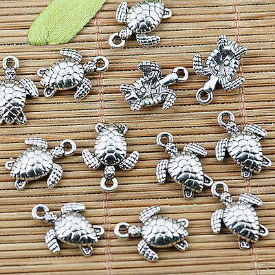 20pcs Tibetan silver sea turtle charm pendants EF1362