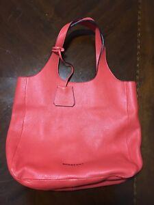 Image is loading Burberry-Red-Orange-Pebbled-Leather-Large-Shoulder-Bag 7888198a38dd7