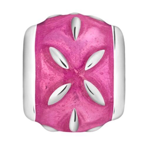 Lovelinks Bead Sterling Silver Pink Enamel Silver Stars Charm Jewelry TE008PK