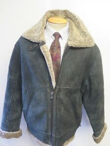 Vintage-B3-Real-Shearling-Sheepskin-Bomber-Aviator-Leather-Jacket-L-42-034-Euro-52