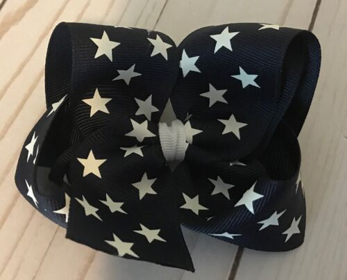 TaylorMade Custom Boutique hair Bow Stars Navy Blue White 4th July Bow New
