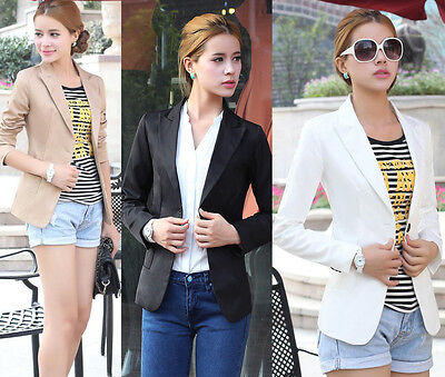 New Womens Blazer Jacket Suit Work Casual Basic Long Sleeve Button Jacket Blazer