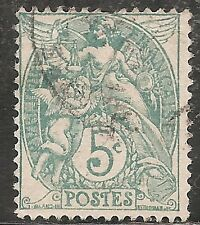 """France Stamp- Scott #113/A16 5c Green """"Liberty Equality Fraternity"""" Used/LH 1900"""