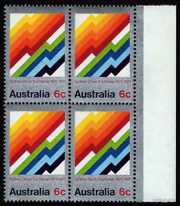 1971-Sydney-Stock-Exchange-BW556d-Flaw-MUH-Block-of-4-SG487-Mint-Australia-Stamp
