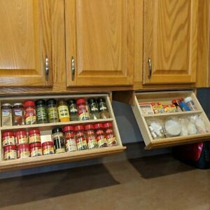 Spice Rack Drawer Fits Under A Upper Cabinet Drop Down Organizer Storage Wooden Ebay