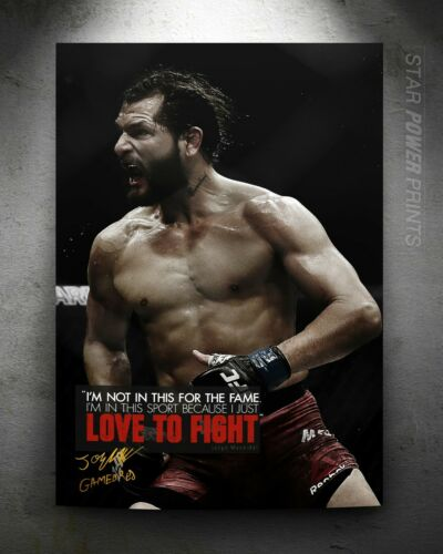 Love to fight Pre signed Jorge Masvidal /'Gamebred/' quote photo print poster