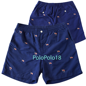 New Polo Ralph Lauren Trunks Swim Shorts US Flag Embroidered M L XL