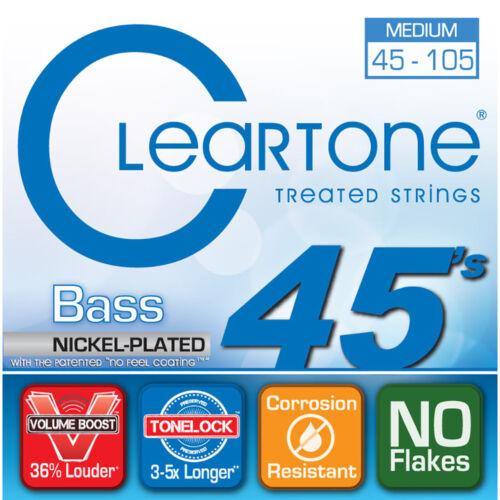 Coated Bass Strings Cleartone 6445 Nickel Plated Steel Medium 45-105