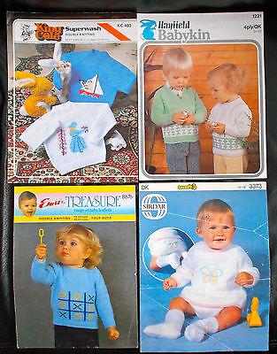 4 x Beautiful Baby Sweater Fair Isle Boat Bear Vintage Knitting Pattern DK 4 ply