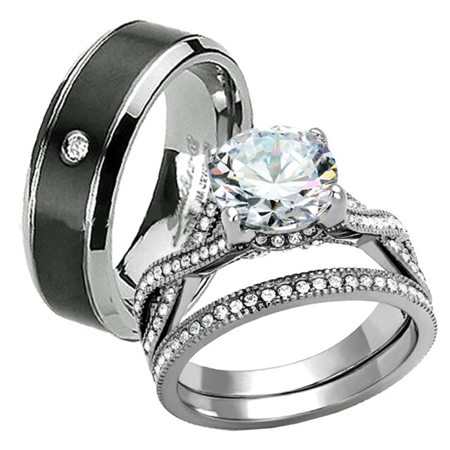 His Hers 3.15 Ct Titanium Stainless Steel Wedding Engagement Rings Band Sets