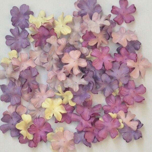 """100 MIXED MULBERRY PAPER ARTIFICIAL MINI PETAL FLOWER PURPLE TONE 2 cm./ 0.8"""""""