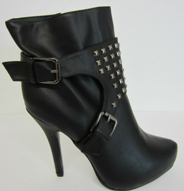 L8633 Coco Ladies Heeled Black Ankle Boots UK Sizes 3 x 8 (R11A)