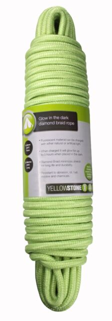 "Yellowstone Outdoor Camping Glow in the Dark Rope 3/8"" Thick 30m 100ft Long"