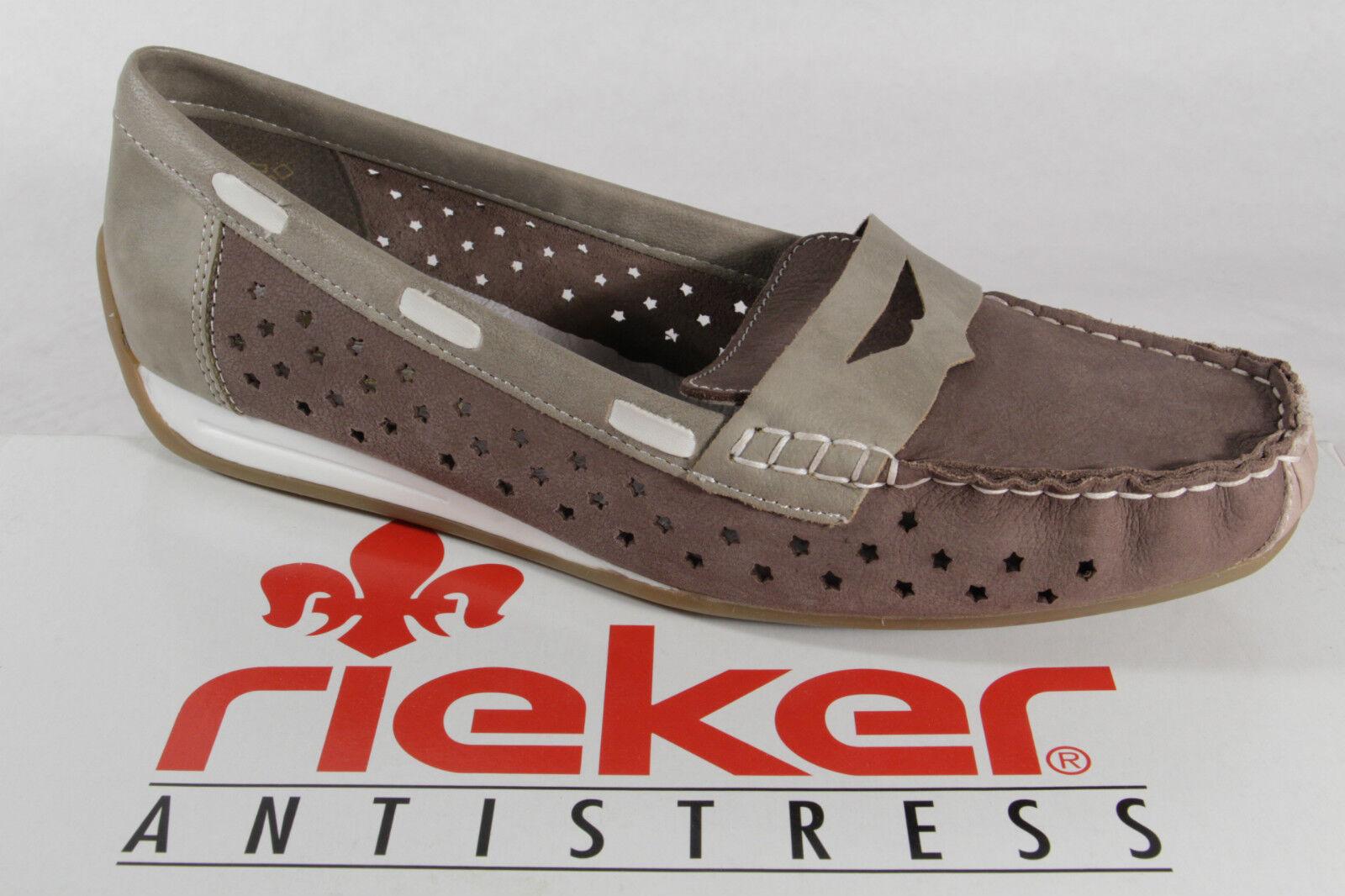 Rieker Slipper 41060 Ballerina   Leder, grau/braun,   Ballerina NEU 479882