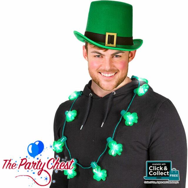 Mens Fun St Patricks Day Plastic Green Vest Shamrock Irish Costume Accessory