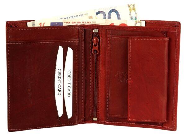+ Portafoglio Da Uomo Soldi Borsa Portafoglio In Pelle Bovina-marrone Scuro Ex160302-e Portemonnaie Aus Rindsleder - Dunkelbraun Ex160302