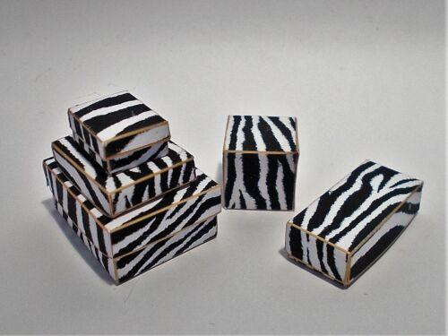 Boutique Salon Funky Casa de muñecas en miniatura printie Kit-Zebra Cajas