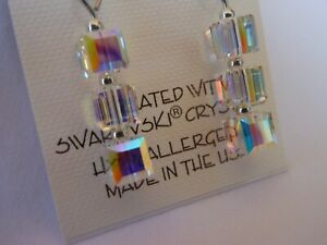 HYPOALLERGENIC-Dangle-Earrings-Swarovski-Elements-Crystal-Cubes-in-AB-Color