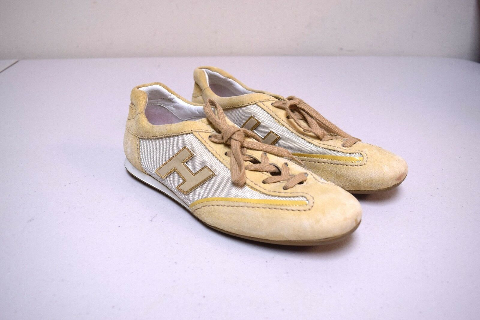 HOGAN  Sand Beige Classic Trainers Sneakers Athletic Sport shoes Size 38.5