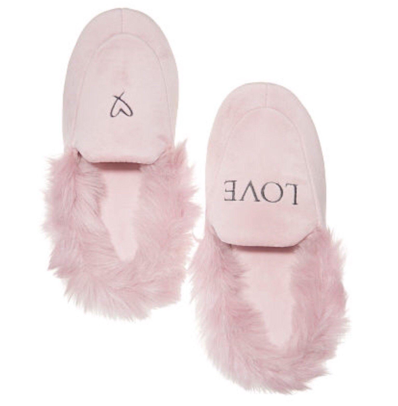 Victoria Secret VELVET SLIPPER furry Pink Blue Black M L XL 7 8 9 10 11 Gift NEW