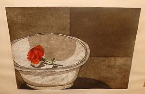 L-DUDLEY-TAFT-034-ROSE-IN-A-LARGE-WHITE-BOWL-034-VINTAGE-LIMITED-SIGNED-ETCHING