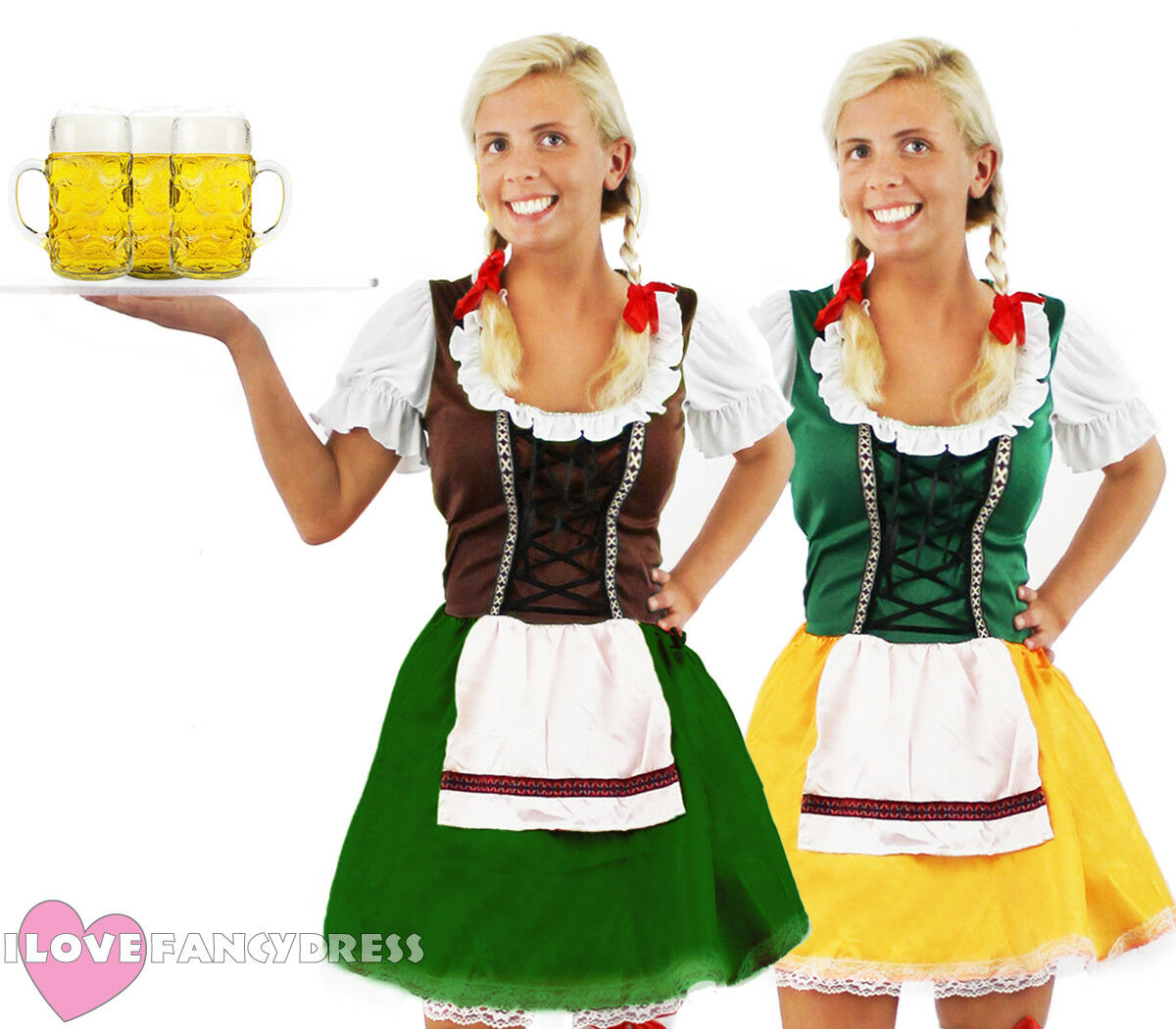 SALE!! Green Brown Oktoberfest Beer Maid Fancy Dress Wench Costume