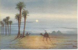 Moonlight-Scene-near-the-Pyramid-Giza-Egypt-Artist-Signed-AYOUB-BISHAI-R52
