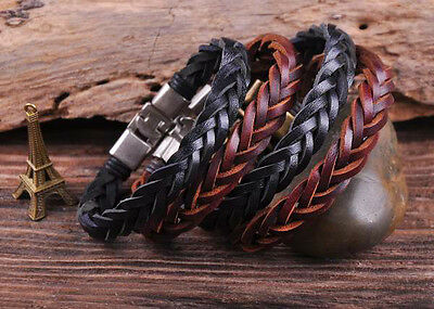 S509 Retro Classic Genuine Leather Braided Bracelet Wristband Men's Cuff B&K 4PC