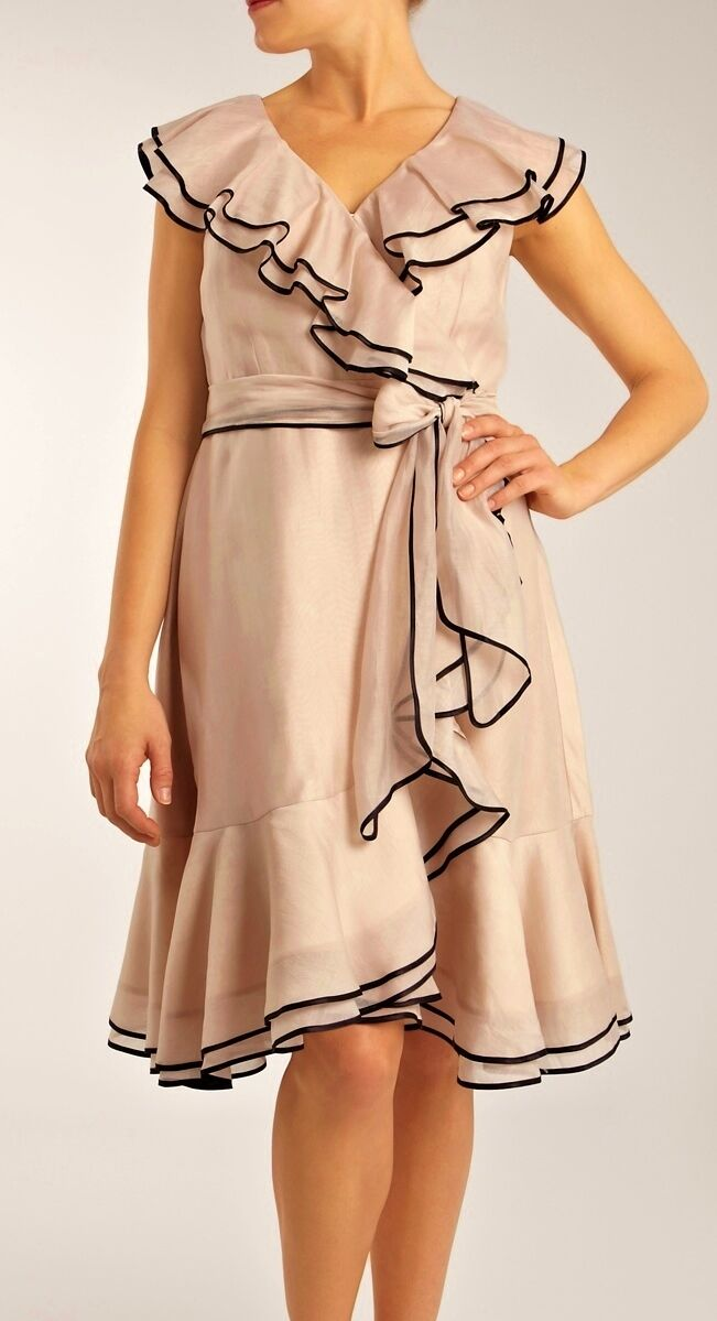 COAST VERONA VERONA VERONA TIPPED FRILL CHAMPAGNE SILK MIX 50'S WRAP DRESS SASH 14 ONCE 3995b5