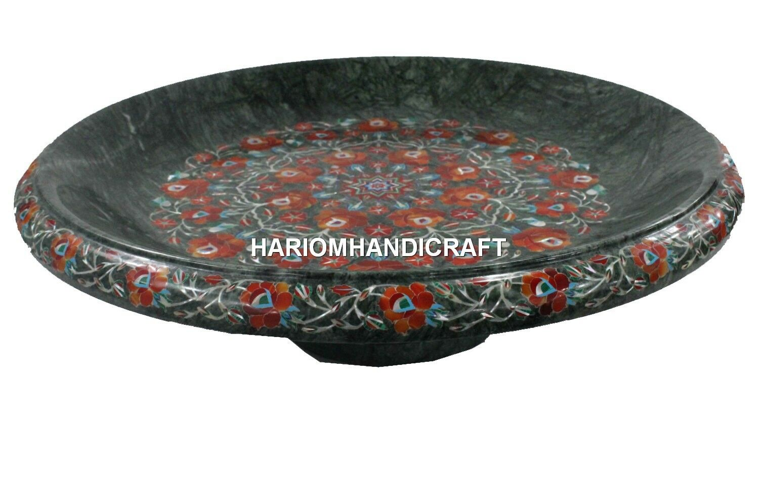 vert Marble Kitchen Dry Fruit Bowl Hakik Floral Inlaid Handwork Work Gift Arts