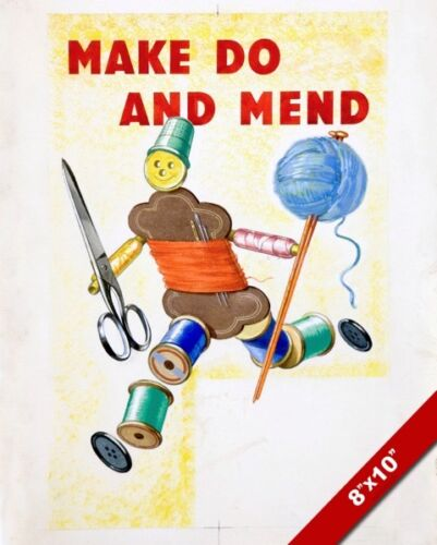 WWI MAKE DO /& MEND CLOTHES SEW PROPAGANDA POSTER PAINTING REAL CANVASART PRINT