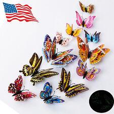 12 PCS 3D Butterfly Design Decal Art Wall Stickers Luminous Night Home Decor US