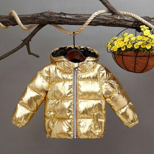 Kids Girls Hooded Winter Jacket Silver Gold Black Boys Casual Coat Children HOT