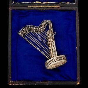 Antique-Vintage-Art-Nouveau-Sterling-800-Silver-Harp-Filigree-Cannetille-Pendant