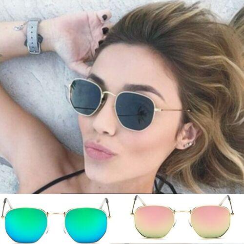 Classic Pilot Sunglasses Metal Frame Mirror Lenses UV400 Womens Mens Polygonal