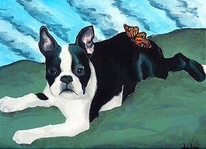 BOSTON-TERRIER-amp-BUTTERFLY-Dog-8x10-Signed-Art-PRINT-of-Original-Painting-VERN