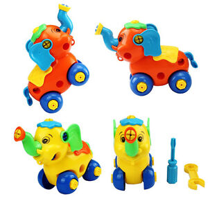 Hot Kid Plastic Easy Disassembly Elephant Car Educational Toy 2 Colors for Gift