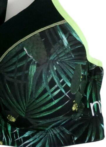 LADIES NEXT HIGH IMPACT SPORTS BRA BLACK GREEN TROPICAL DESIGN 32C