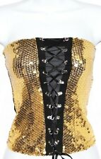 L Burlesque Gold Sequin Lace Up Belly Dance Sequin Club Bra Tube Strapless Top