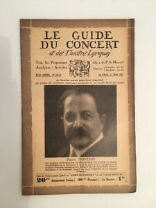 El Guía de La Concierto Y Las Teatro Letra Piedra Monteux N º 29-30 1931