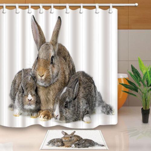 Fluffy Rabbits Bunny Family Bathroom ShowerCurtainSet Home FabricHooks71Inch