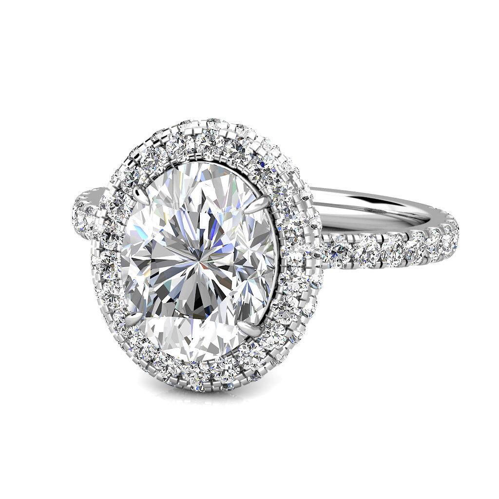 2.00Ct Oval Moissanite & Diamond Halo Wedding Engagement Ring 14K White gold