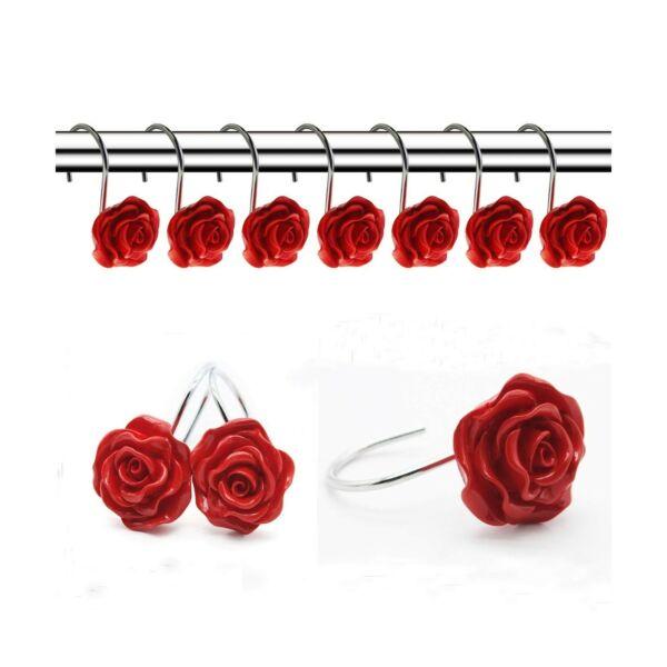 100% Waar Finros 12 Pcs Home Fashion Decorative Anti Rust Shower Curtain Hooks Rose Des...