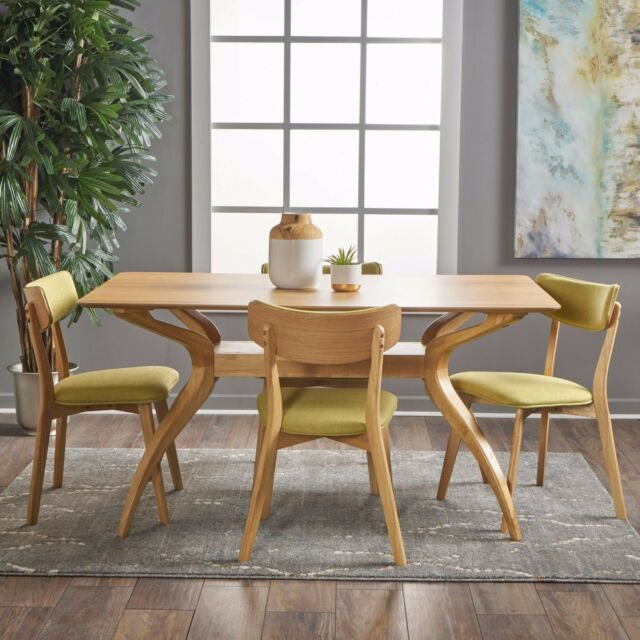 Awesome Nasseen Mid Century Finished 5 Piece Wood Dining Set With Fabric Chairs Ibusinesslaw Wood Chair Design Ideas Ibusinesslaworg
