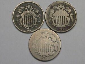 3-US-Shield-Nickels-1868-1869-amp-1872-9